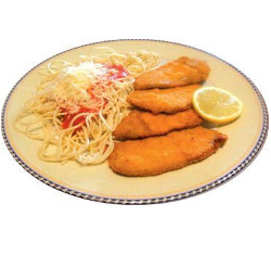 Escalope with spaguetti